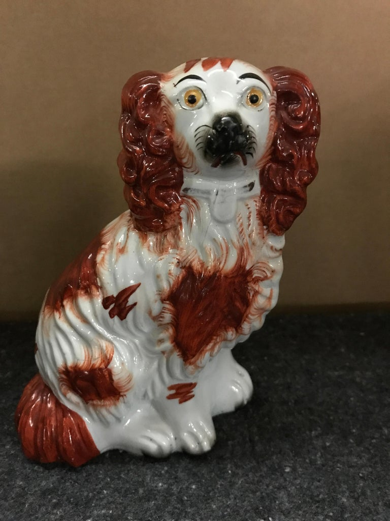 19th Century Pair of #4 Staffordshire England Red Seated Spaniel Dogs For Sale