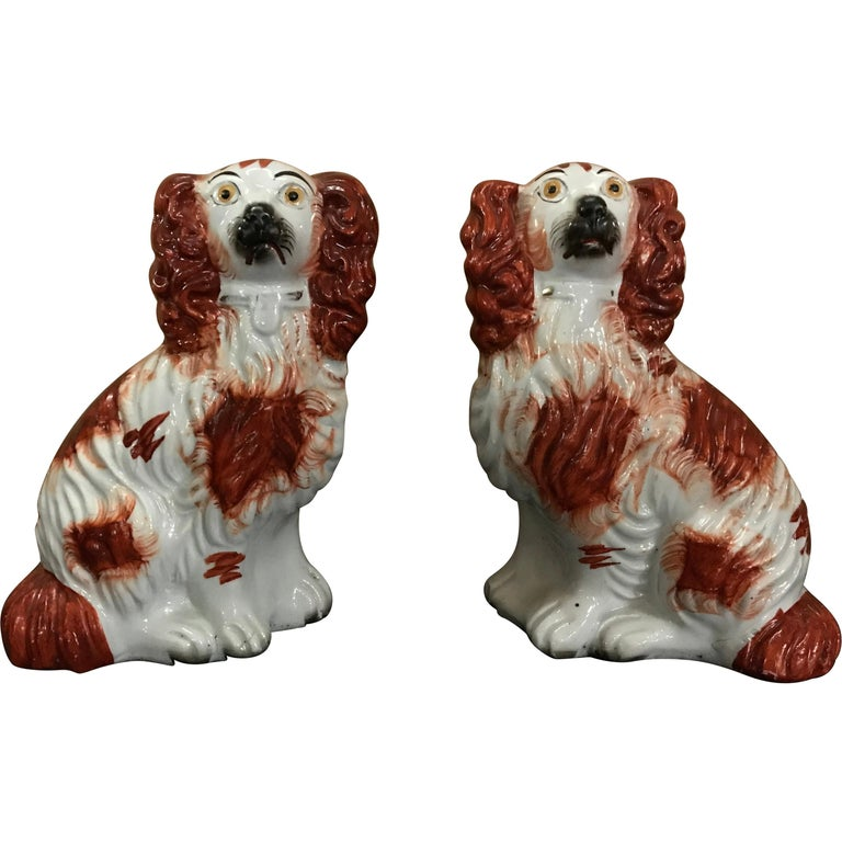 Pair of #4 Staffordshire England Red Seated Spaniel Dogs For Sale