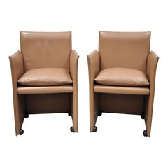 Pair of 401 Break Armchair by Mario Bellini for Cassina Copper Leather