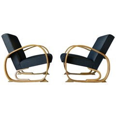 Pair of 1940s Art Deco Bentwood Club or Lounge Chairs