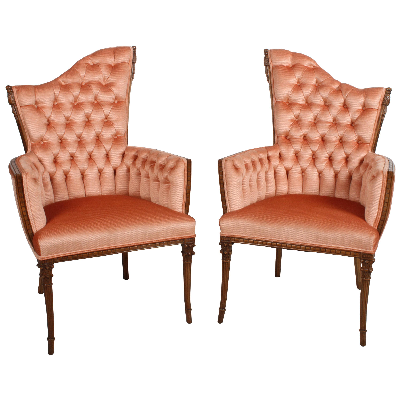 Pair of Grosfeld House Armchairs Asymmetrical Back Tassel Hollywood Regency