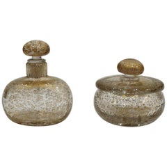 Pair of 1940s Signed Murano Blown Glass Bottle