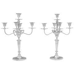 Pair of 5-Light Antique Sterling Silver Candelabra in Batwing Style Made in 1901