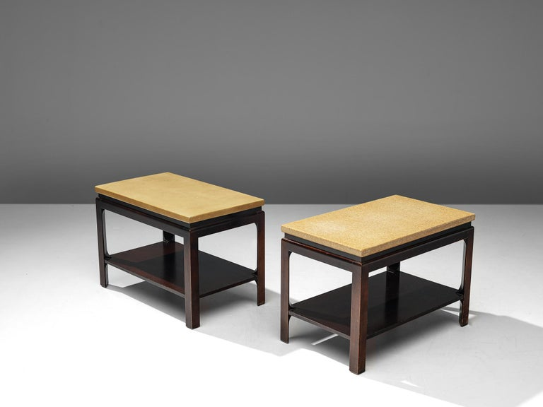 Paul Frankl for Johnson Furniture, pair of side tables, cork and mahogany, United States, circa 1951  This pair of side tables is designed by the Austrian-American modernist designer Paul Frankl. The mahogany end tables belong to a range of