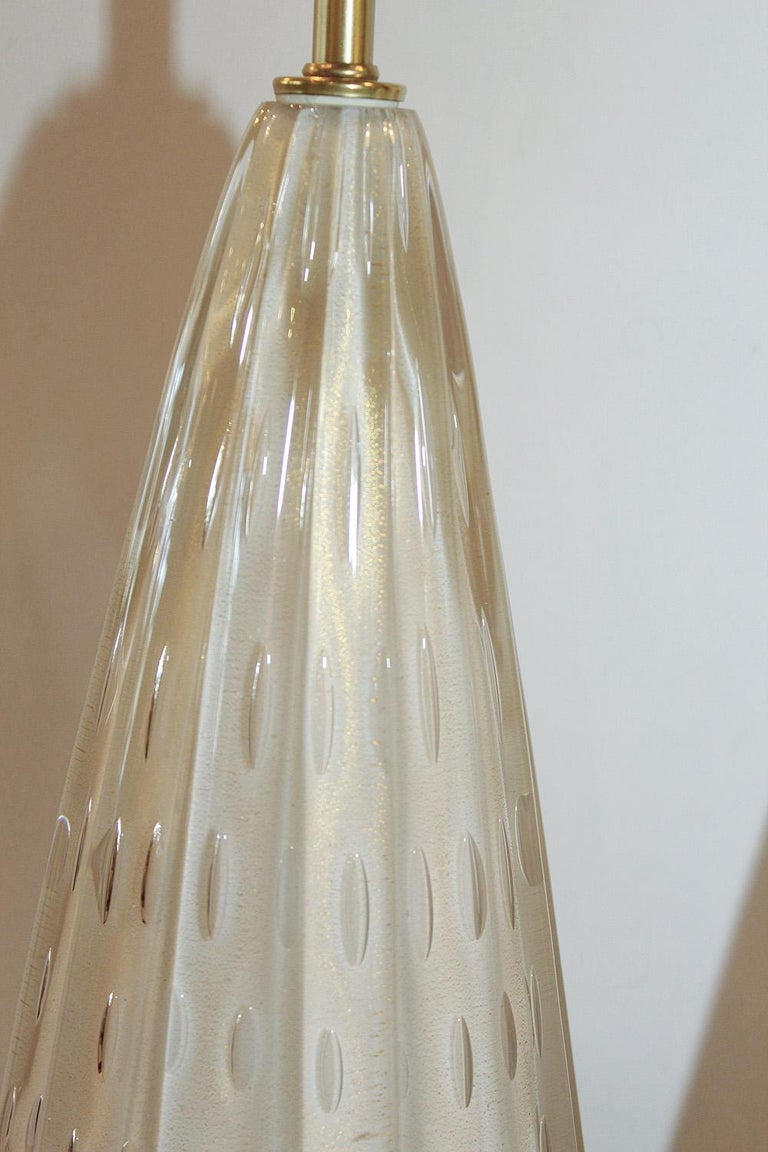 Brushed Pair of 50's Barbini White Gold-Dusted Bollicante Murano Lamps For Sale