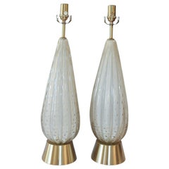 Pair of 50's Barbini White Gold-Dusted Bollicante Murano Lamps
