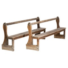 Pair of 50's French Church Pews in Solid Oak Rustic Campaign Brutalist