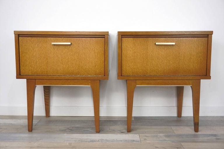 Mid 20th Century Pair Of 1950s French Design Wooden Bedside Tables For