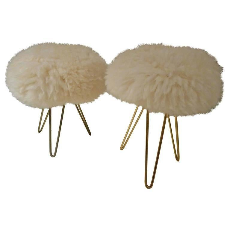 Pair of 1950's Fur Ottomans in the Style of Jean Royère, France