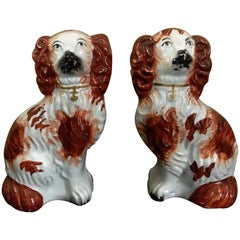 Pair of #6 Staffordshire England Red Seated Spaniel Dogs