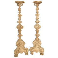 Pair of 17th Century Light Walnut Wood Candlesticks from France