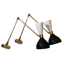 Pair Of 60's Brass Italian Sconces Style Stilnovo Diabolo Model