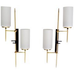 Pair X-Large French Architectonic Asymetric Lunel Brass Glass Sconces Lights