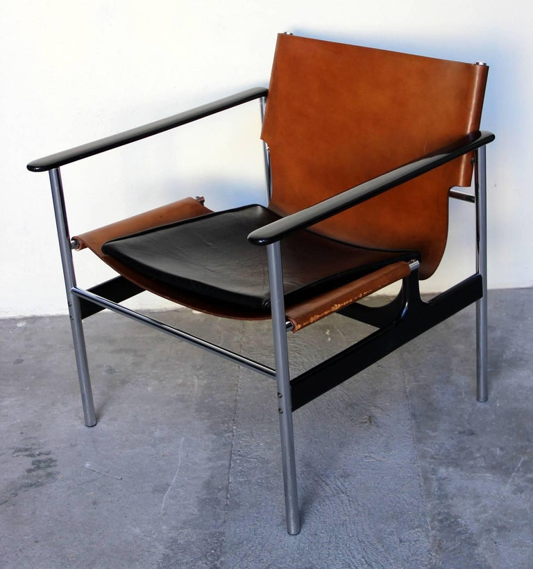 Pair of 657 Sling Lounge Chairs by Charles Pollock for Knoll, 1964 In Fair Condition For Sale In Paris, FR