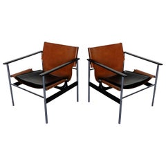 Pair of 657 Sling Lounge Chairs by Charles Pollock for Knoll, 1964