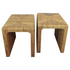 Pair of 1970s Split Bamboo End Tables