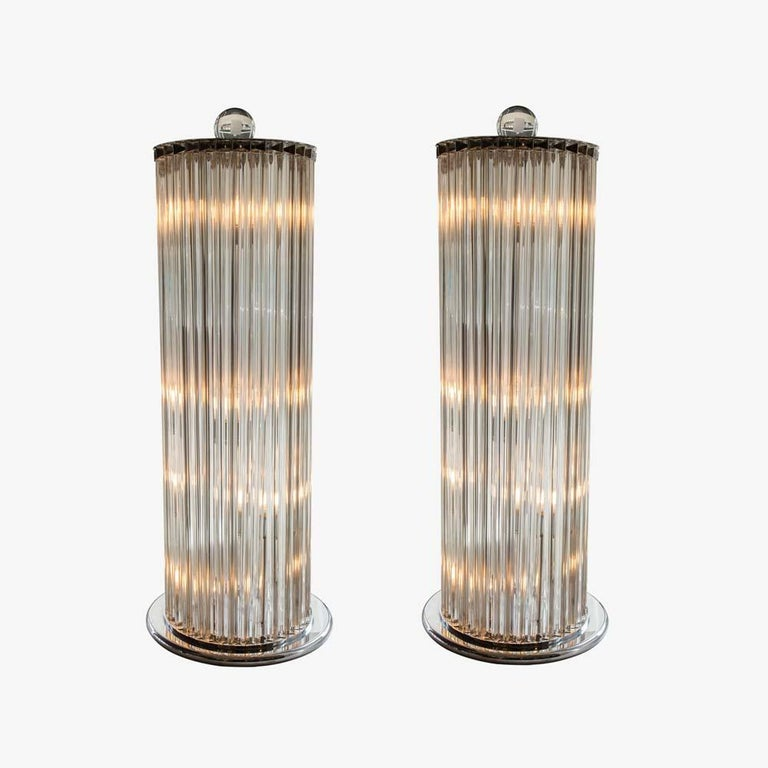 Mid-Century Modern 1970s Stunning Murano blown clear Glass Column shaped Floor Lamps Italian, Pair For Sale