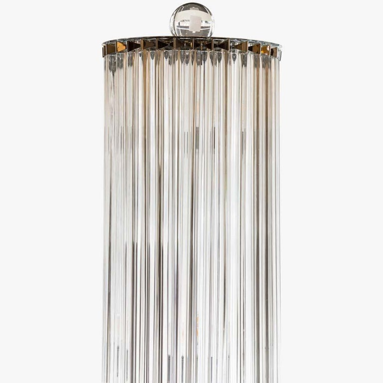 1970s Stunning Murano blown clear Glass Column shaped Floor Lamps Italian, Pair For Sale 2