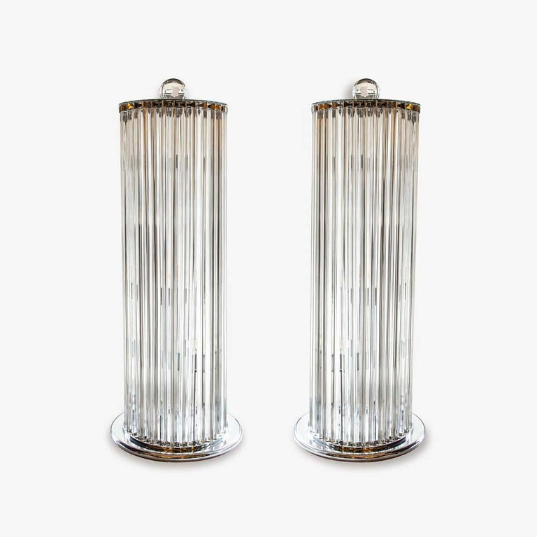 1970s Stunning Murano blown clear Glass Column shaped Floor Lamps Italian, Pair For Sale 3