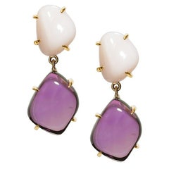 Pair of 77.90 Carat Amethyst Peruvian Pink Opal 18 Karat Yellow Gold Earrings