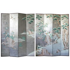 Pair of 8 Panel Hand Painted Chinoiserie Folding Screen