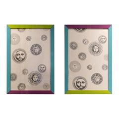 Pair of '80s Piero Fornasetti Framed Fabric Panels