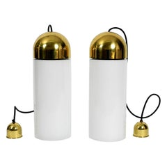 Pair of 1980s Extra Large Glass Brass Church Lamps Limburg Height of Lampshad