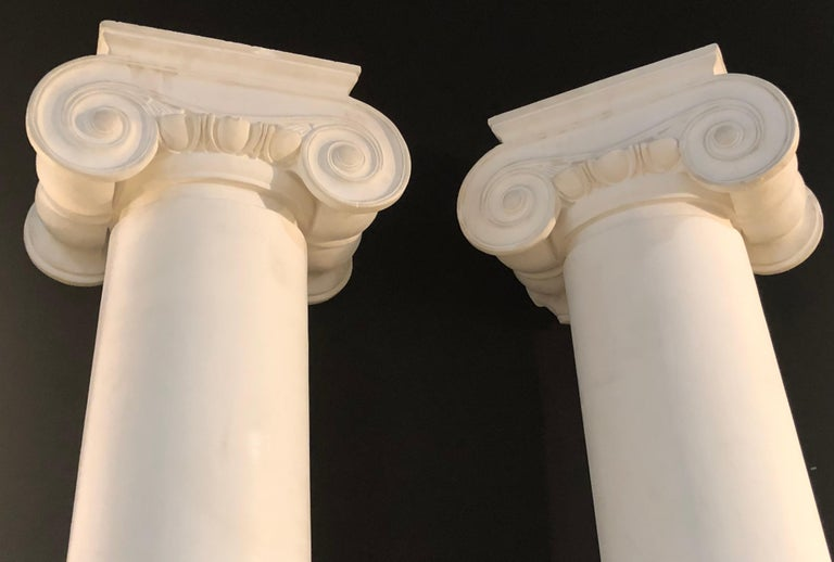 Neoclassical Pair of Columns Having Corinthian Carved Capitals Composite or Fiberglass For Sale