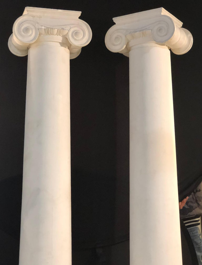 Pair of Columns Having Corinthian Carved Capitals Composite or Fiberglass In Good Condition For Sale In Stamford, CT