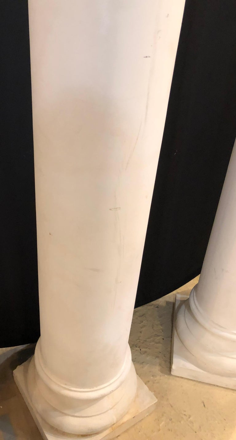 Pair of Columns Having Corinthian Carved Capitals Composite or Fiberglass For Sale 1
