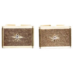 Pair of 9 Karat Yellow Gold and Diamond Rectangular Cufflinks by Cropp & Farr