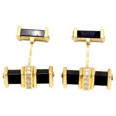Pair of 9 Kt Yellow Gold, Diamond and Black Onyx bar Cufflinks