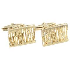 Pair of 9 Kt Yellow Gold Pierced Rectangular Cufflinks with Swivel Fittings