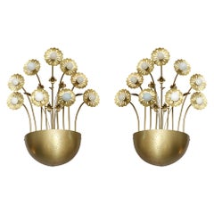 Pair of 9 Light Floral Sconces in the Style of Paavo Tynell
