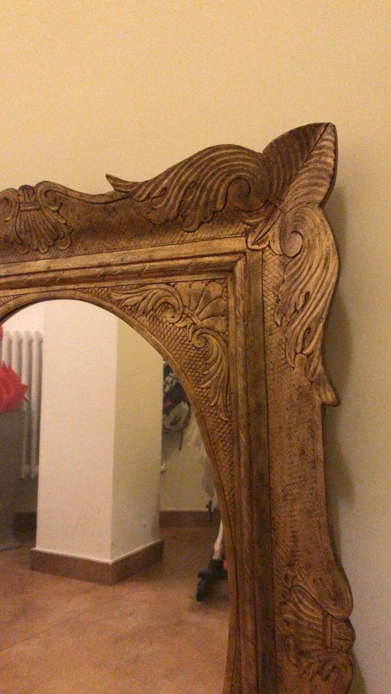 Pair of Sicilian Carved Gilded Silver Mirrors, Italy, 1950s In Good Condition For Sale In , CH