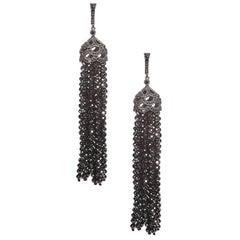 Pair of 92 Carat Black Diamond Bead 18 Karat Blackened Gold Tassel Earrings