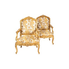 Pair of a La Reine Louis XV Style Armchairs in Giltwood, circa 1880