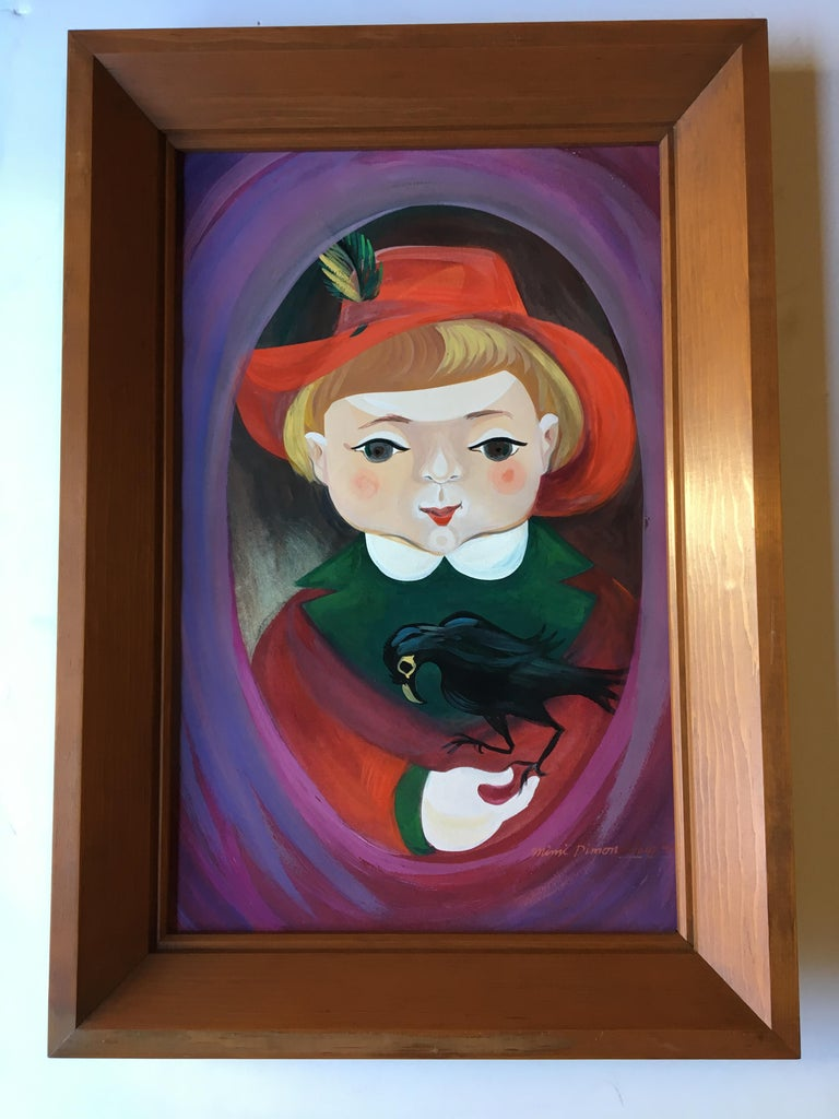 An endearing pair of paintings depicting a complimentary Jack and Jill like figures. These 2 naive portraits have been painted with gouache in 1947 and are in their original frames.  Mimi aka Miriam Dimondstein (1920-2007): Artist, Writer,