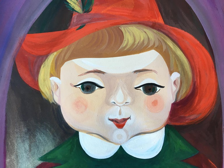 American Pair of a Little Boy and a Little Girl's Portraits by Mimi Dimondstein For Sale