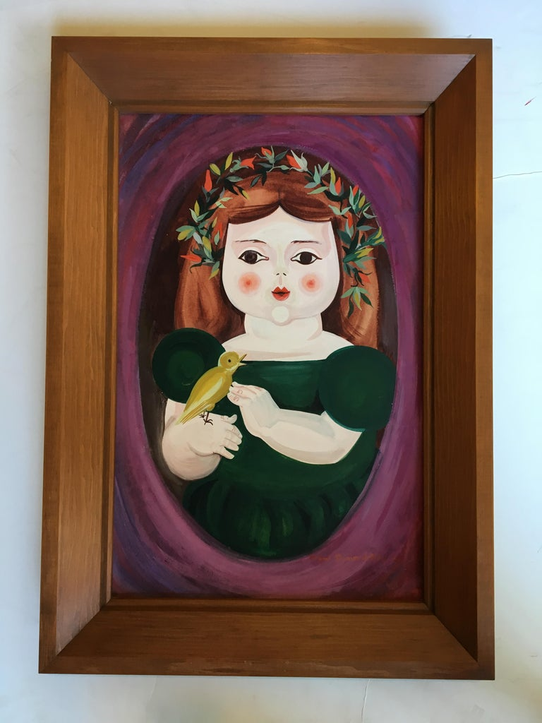 Pair of a Little Boy and a Little Girl's Portraits by Mimi Dimondstein For Sale 1