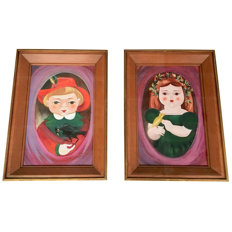 Pair of a Little Boy and a Little Girl's Portraits by Mimi Dimondstein For Sale