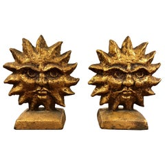 Pair of a Pair of Sun and Moon Reversible Bookends by Curtis Jere.