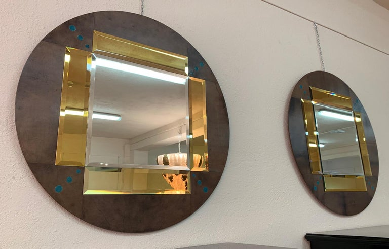 Art Deco Pair of a Parchment and Shagreen Mirrors, Italy For Sale