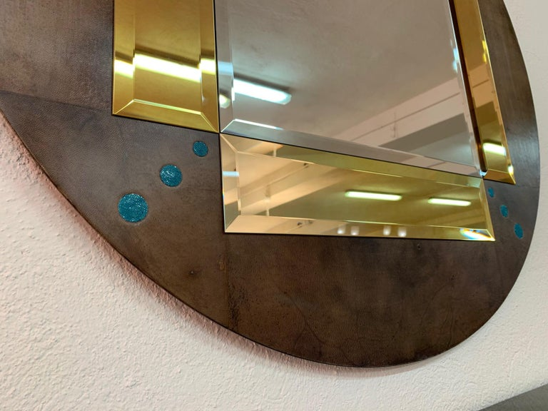 Contemporary Pair of a Parchment and Shagreen Mirrors, Italy For Sale