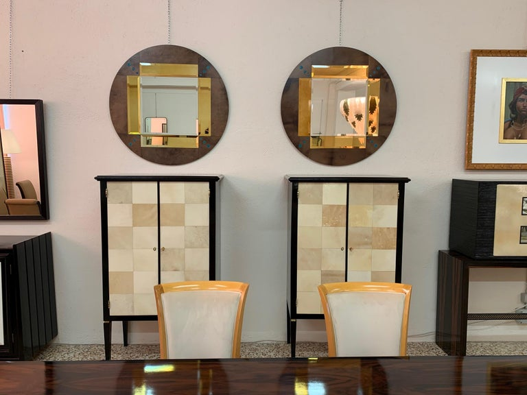 Goatskin Pair of a Parchment and Shagreen Mirrors, Italy For Sale