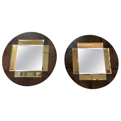 Pair of a Parchment and Shagreen Mirrors, Italy