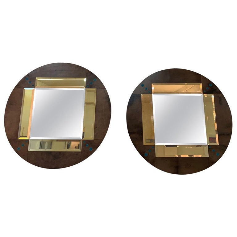 Pair of a Parchment and Shagreen Mirrors, Italy For Sale