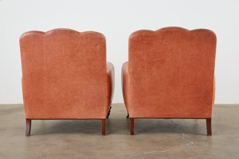 Pair of A. Rudin Art Deco Leather Lounge Chairs For Sale 13