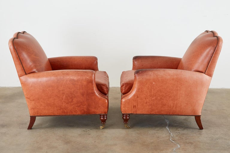 Pair of A. Rudin Art Deco Leather Lounge Chairs In Good Condition For Sale In Oakland, CA