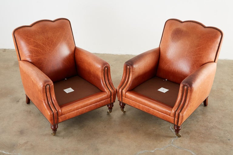 Hardwood Pair of A. Rudin Art Deco Leather Lounge Chairs For Sale